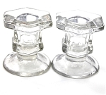 Pair of Glass Taper Candle Holders - Short Design