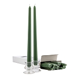 Box of 12 Green Taper Candles - 12 Inch Candles