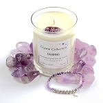 Amethyst Crystal CALMING Energy Candle and Bracelet Set