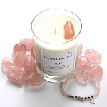 Rose Quartz Crystal LOVE Energy Candle and Bracelet Set