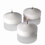 Set of 12 White Unscented 3 Inch Floating Candle