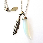 Opalite Horn & Feather Necklace