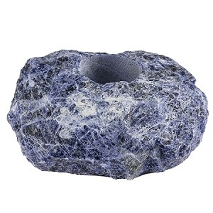 Natural Mineral Sodalite Tealight Candle Holder, Reiki Healing Crystal